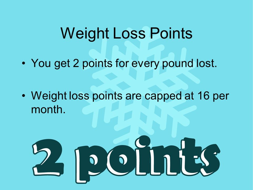 Weight Loss Points You get 2 points for every pound lost.