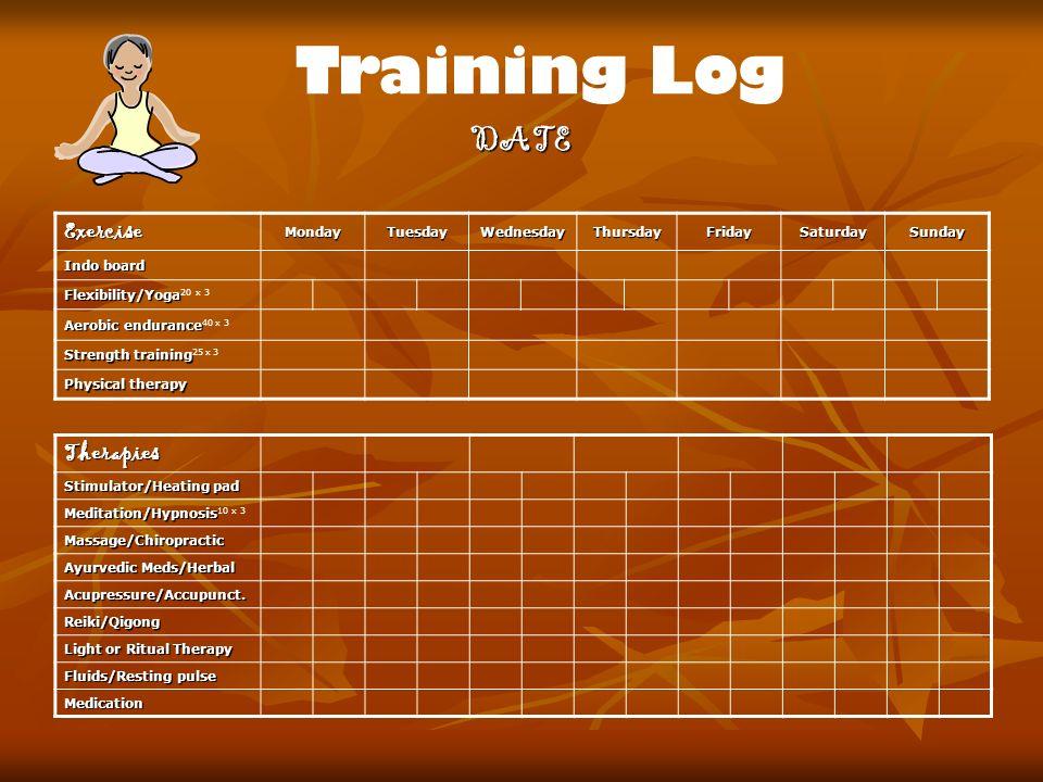Training Log DATE ExerciseMondayTuesdayWednesdayThursdayFridaySaturdaySunday Indo board Flexibility/Yoga Flexibility/Yoga 20 x 3 Aerobic endurance Aer