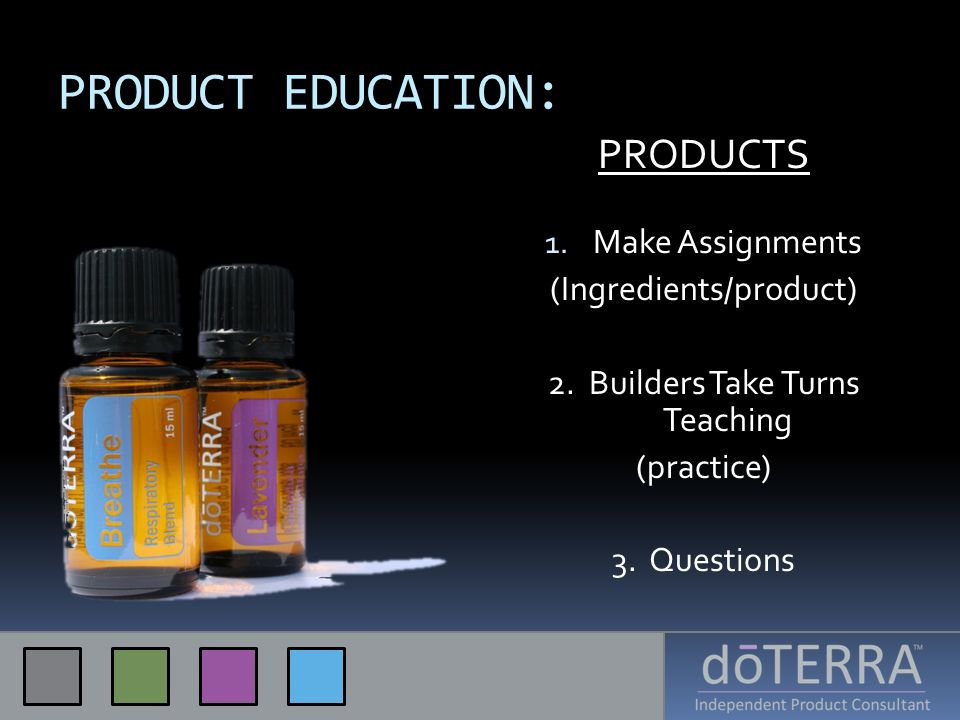 PRODUCT EDUCATION: PRODUCTS 1. Make Assignments (Ingredients/product) 2. Builders Take Turns Teaching (practice) 3. Questions