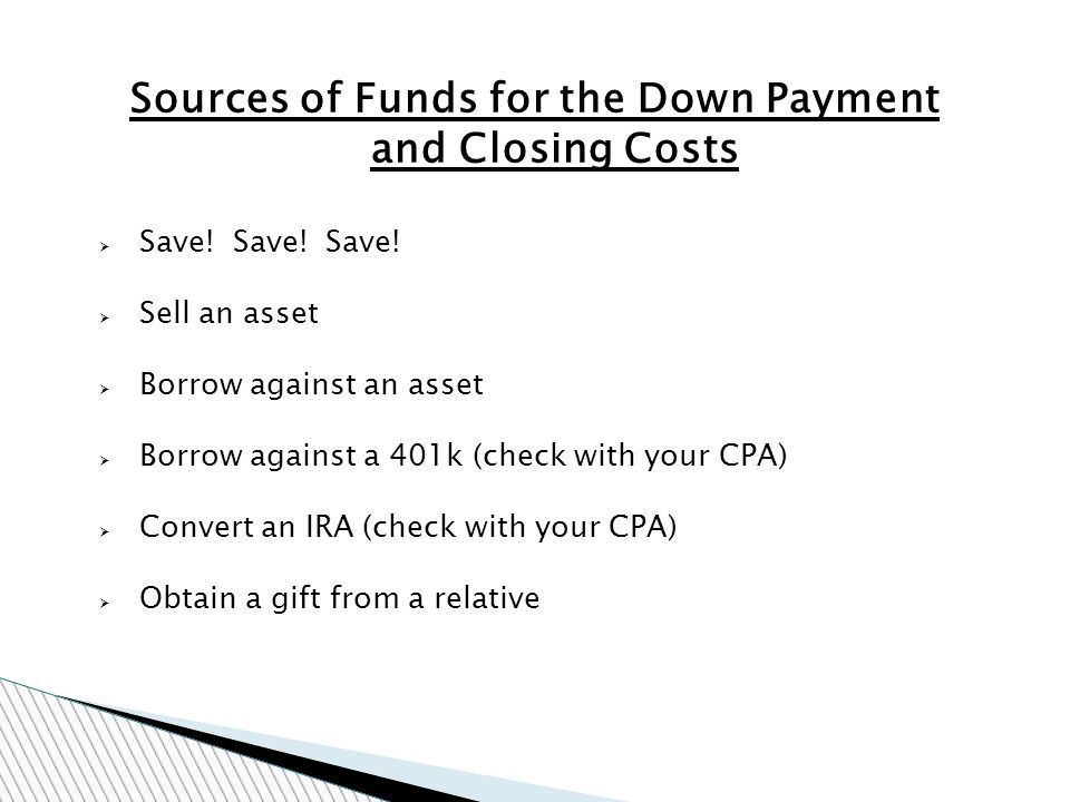 Sources of Funds for the Down Payment and Closing Costs Save.