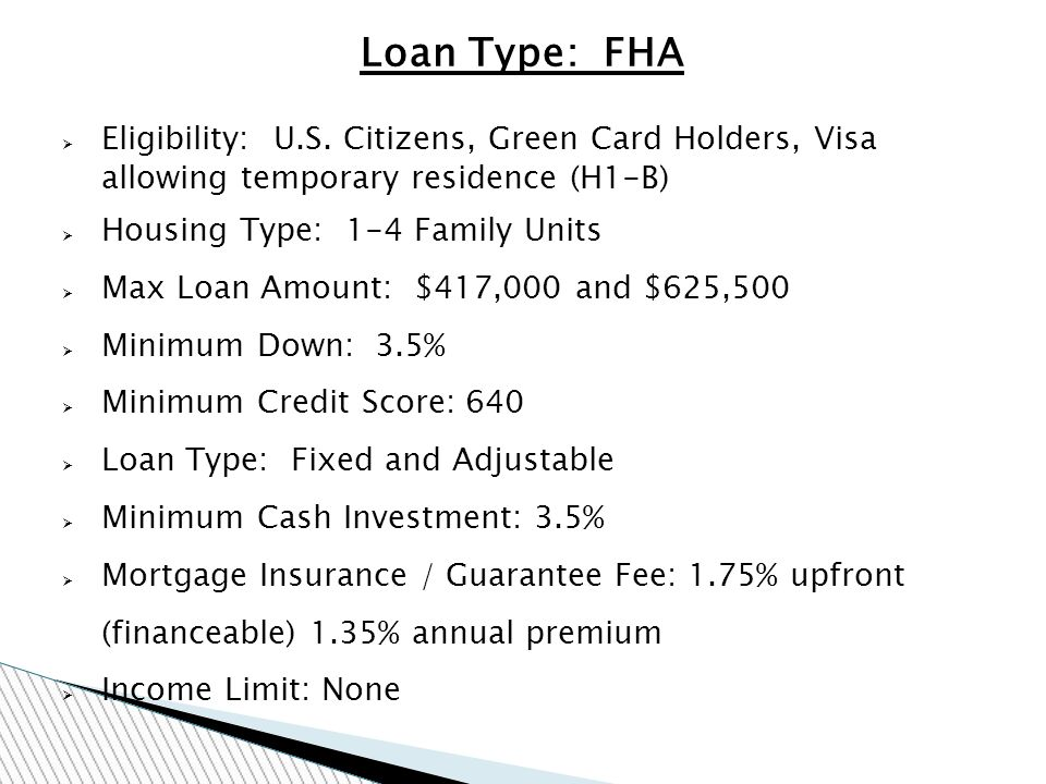 Loan Type: FHA Eligibility: U.S.