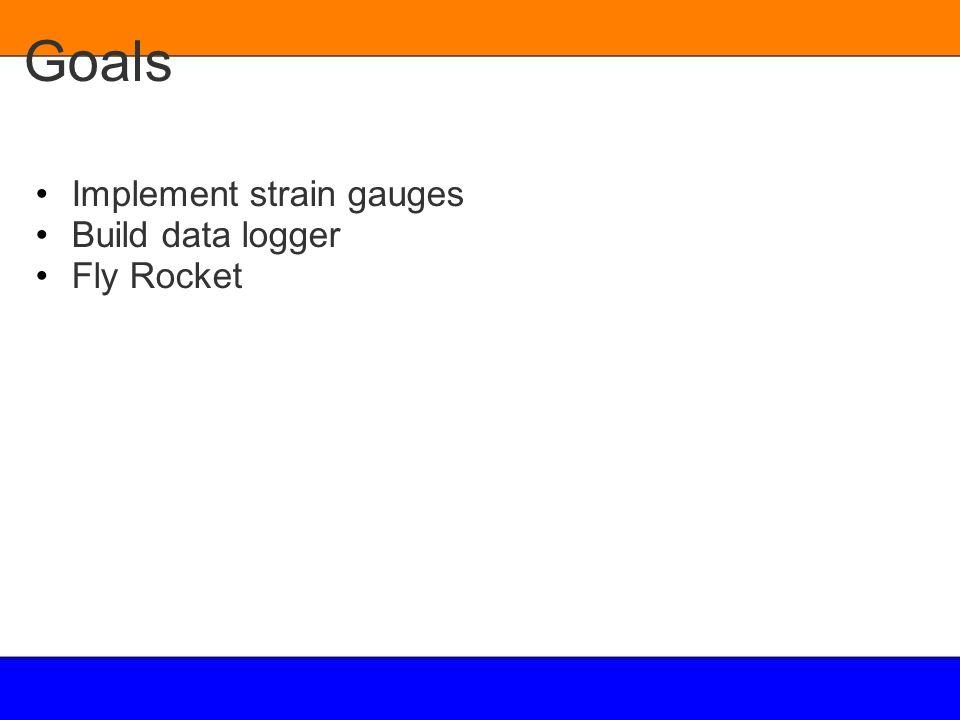 Goals Implement strain gauges Build data logger Fly Rocket