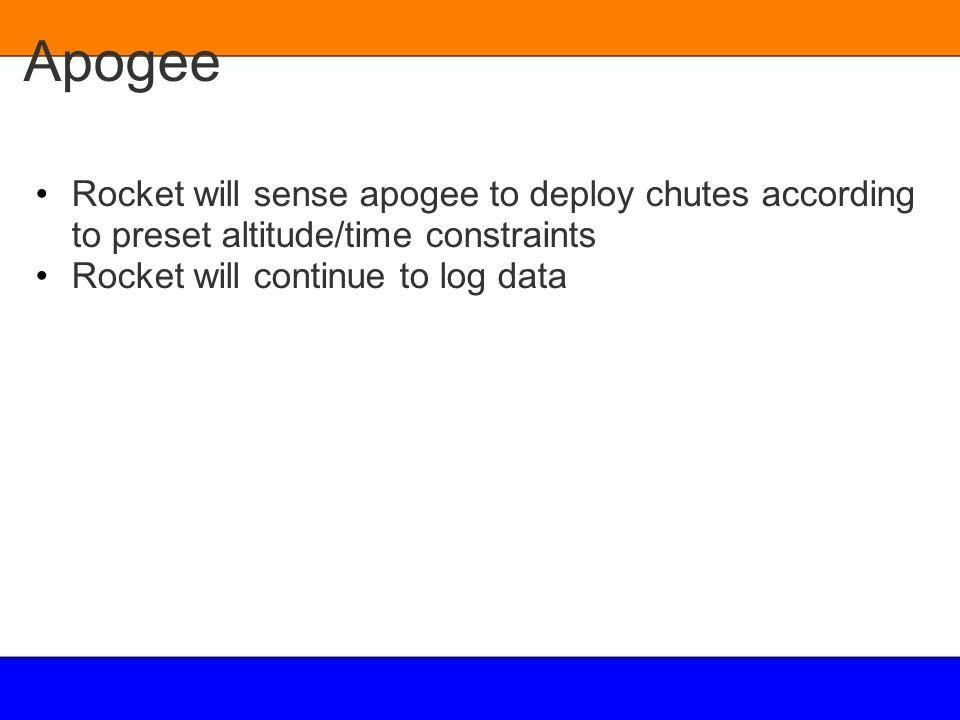 Apogee Rocket will sense apogee to deploy chutes according to preset altitude/time constraints Rocket will continue to log data