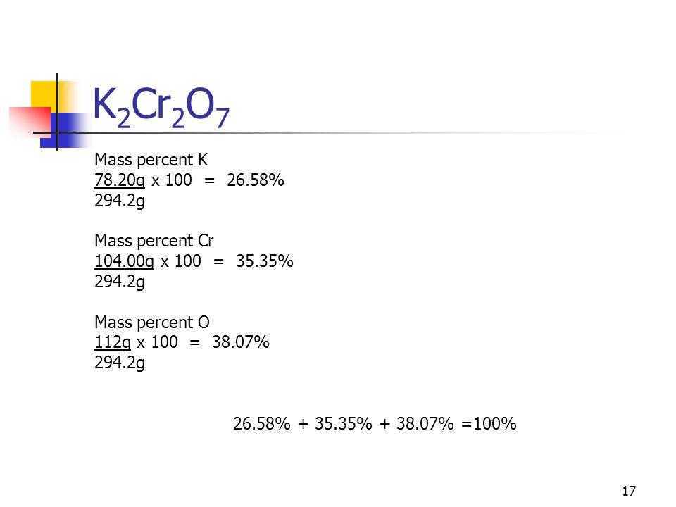 17 K 2 Cr 2 O 7 Mass percent K 78.20g x 100 = 26.58% 294.2g Mass percent Cr 104.00g x 100 = 35.35% 294.2g Mass percent O 112g x 100 = 38.07% 294.2g 26