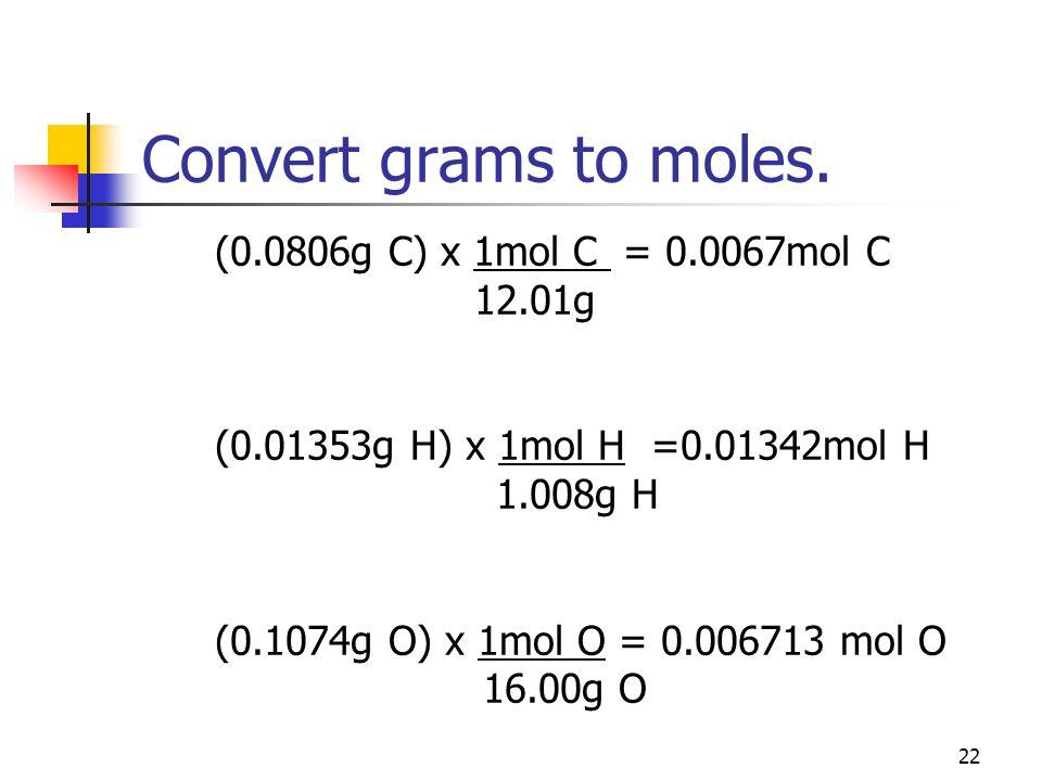 22 Convert grams to moles. (0.0806g C) x 1mol C = 0.0067mol C 12.01g (0.01353g H) x 1mol H =0.01342mol H 1.008g H (0.1074g O) x 1mol O = 0.006713 mol
