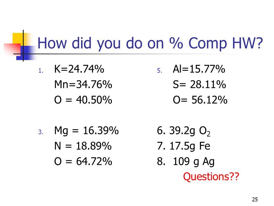 25 How did you do on % Comp HW? 1. K=24.74% Mn=34.76% O = 40.50% 3. Mg = 16.39% N = 18.89% O = 64.72% 5. Al=15.77% S= 28.11% O= 56.12% 6. 39.2g O 2 7.