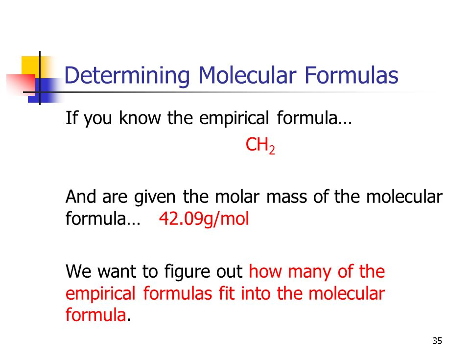 Determining Molecular Formulas If you know the empirical formula… CH 2 And are given the molar mass of the molecular formula… 42.09g/mol We want to fi