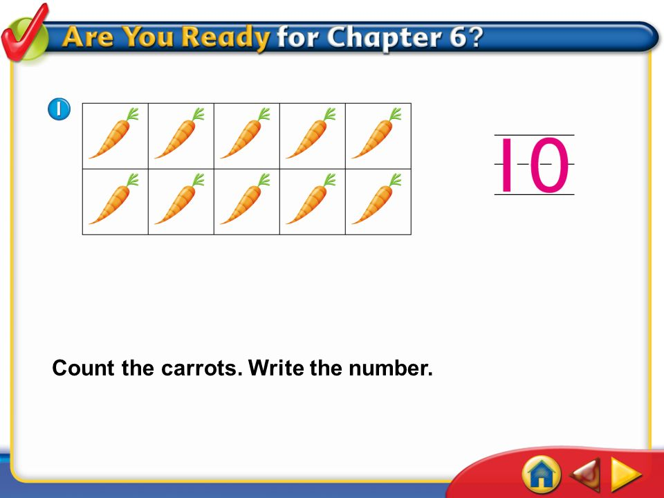 IntroductionAre You Ready 1 Count the carrots. Write the number.