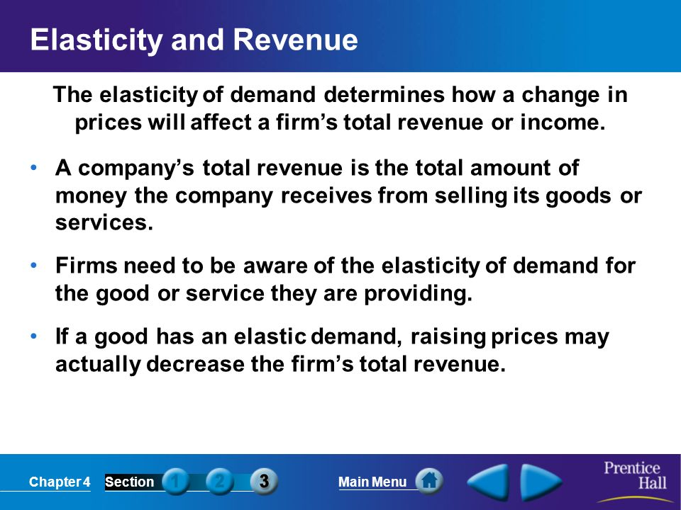 Chapter 4SectionMain Menu The elasticity of demand determines how a change in prices will affect a firms total revenue or income. Elasticity and Reven
