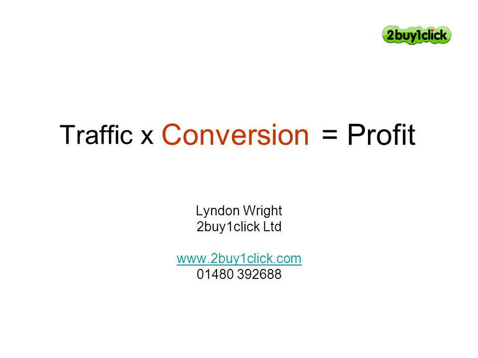 Traffic x Lyndon Wright 2buy1click Ltd www.2buy1click.com 01480 392688 Conversion = Profit