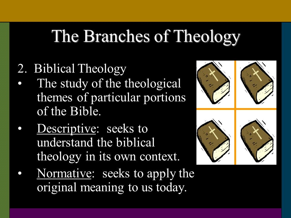 The Branches of Theology The study of the theological themes of particular portions of the Bible. Descriptive: seeks to understand the biblical theolo