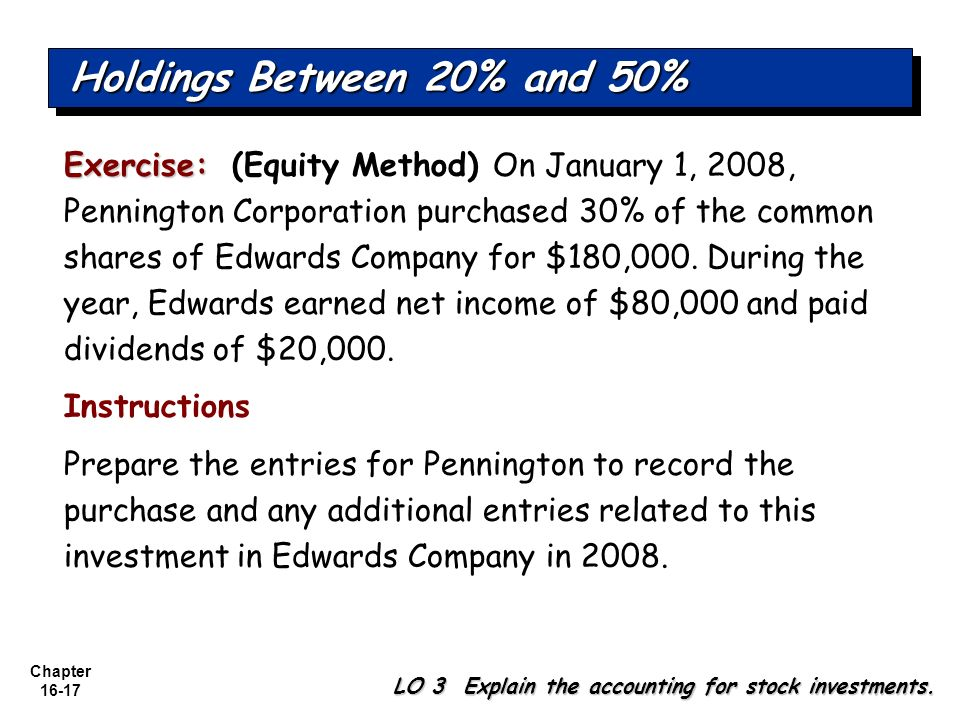Chapter 16-17 Exercise: Exercise: (Equity Method) On January 1, 2008, Pennington Corporation purchased 30% of the common shares of Edwards Company for