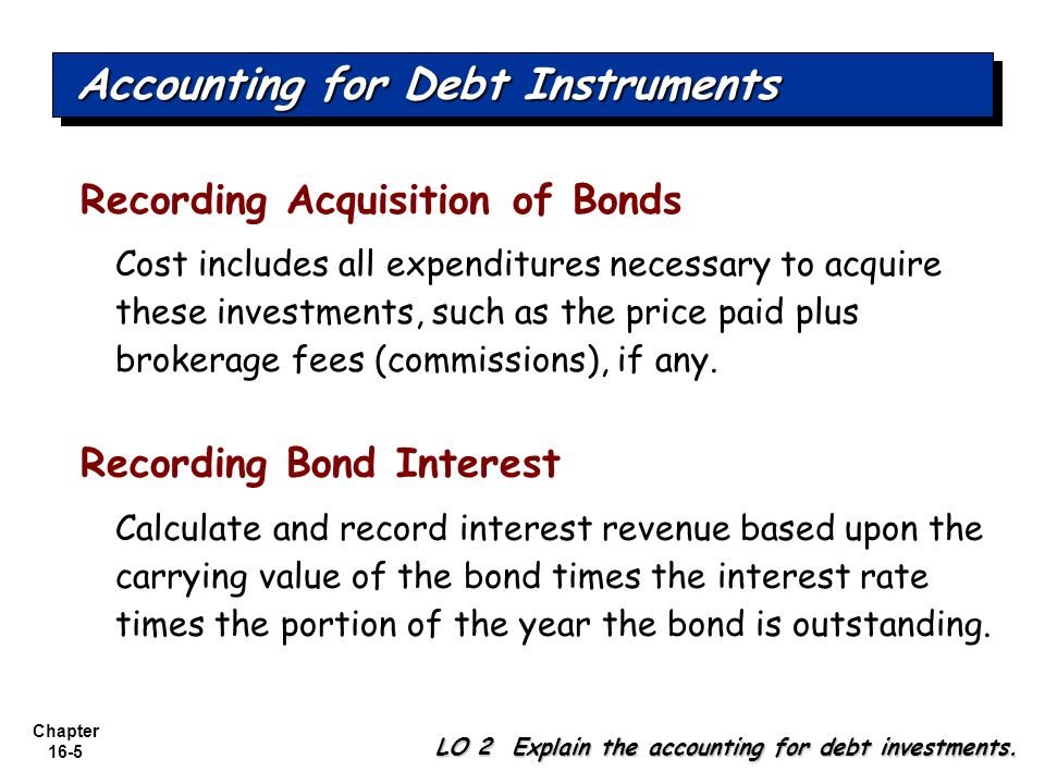Chapter 16-5 Accounting for Debt Instruments LO 2 Explain the accounting for debt investments. Recording Acquisition of Bonds Cost includes all expend
