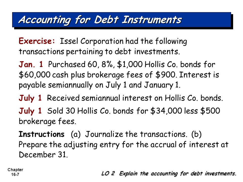 Chapter 16-7 Exercise: Issel Corporation had the following transactions pertaining to debt investments. Jan. 1 Purchased 60, 8%, $1,000 Hollis Co. bon