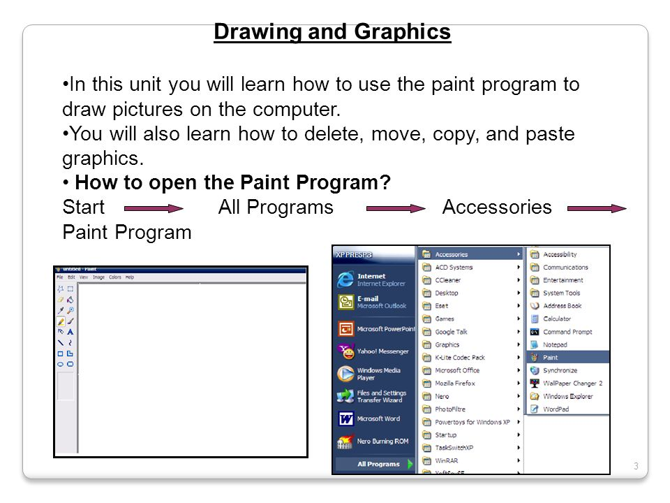 Drawing and Graphics In this unit you will learn how to use the paint program to draw pictures on the computer. You will also learn how to delete, mov