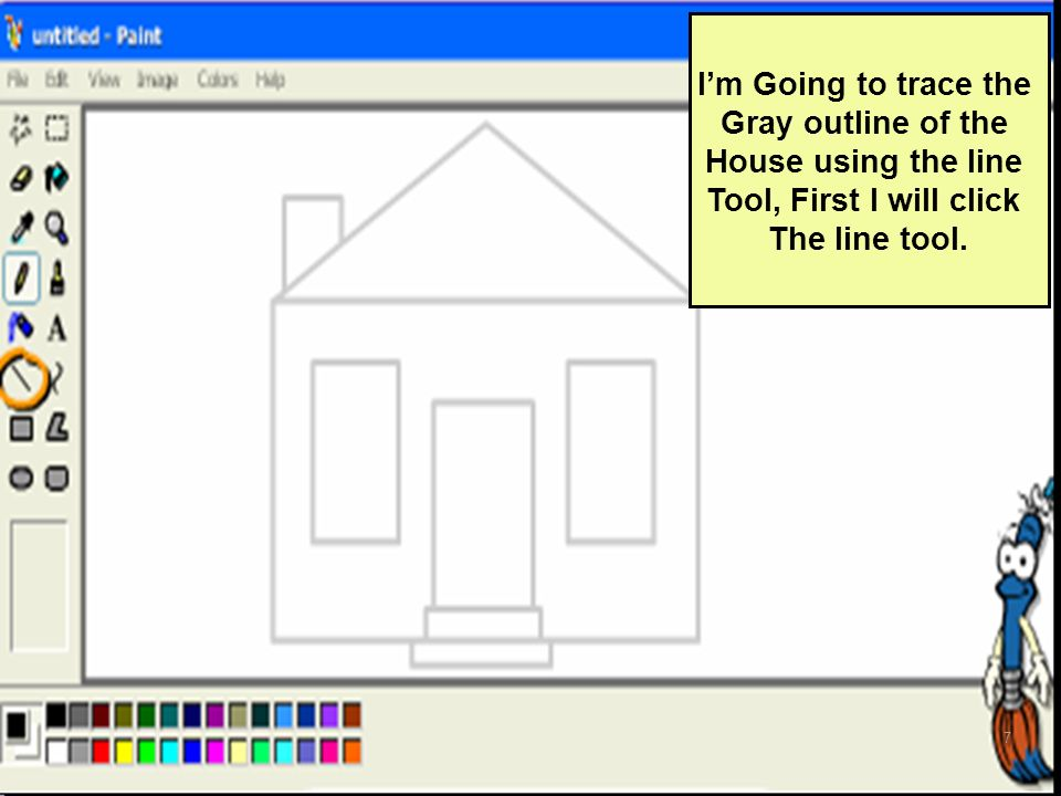 Im Going to trace the Gray outline of the House using the line Tool, First I will click The line tool. 7