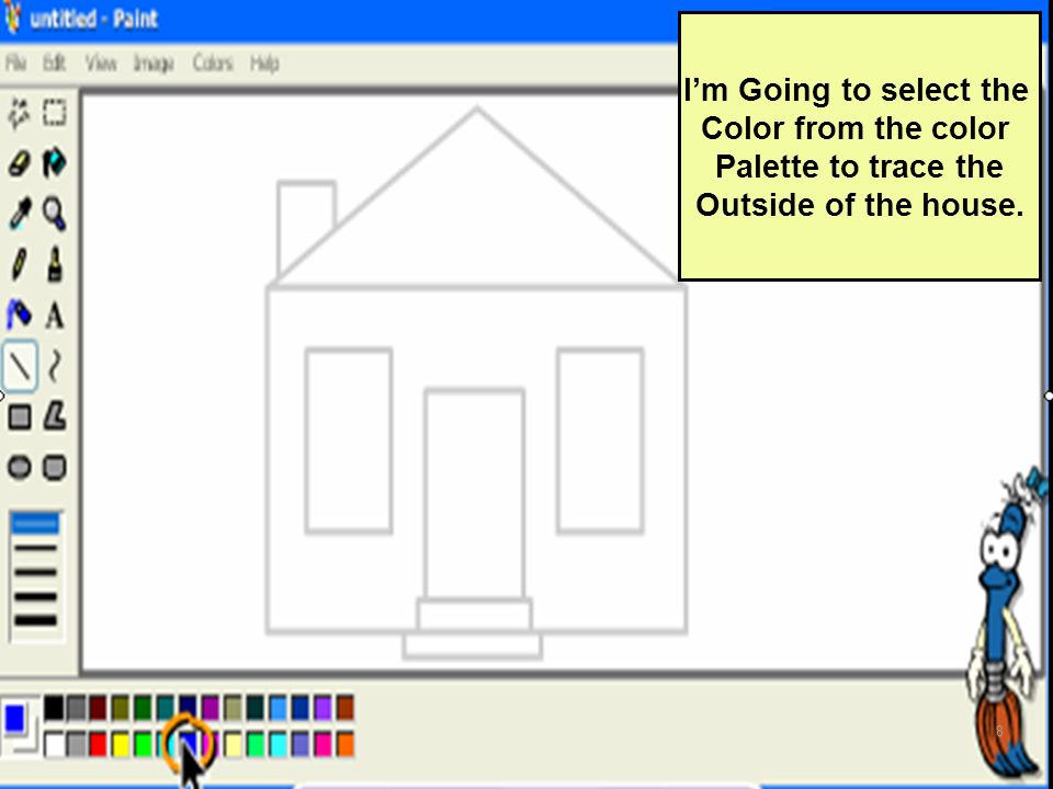 Im Going to select the Color from the color Palette to trace the Outside of the house. 8