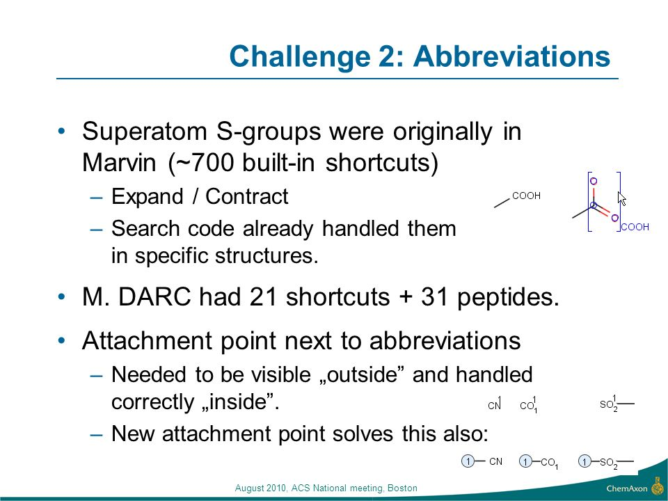 August 2010, ACS National meeting, Boston Challenge 2: Abbreviations Superatom S-groups were originally in Marvin (~700 built-in shortcuts) –Expand / Contract –Search code already handled them in specific structures.