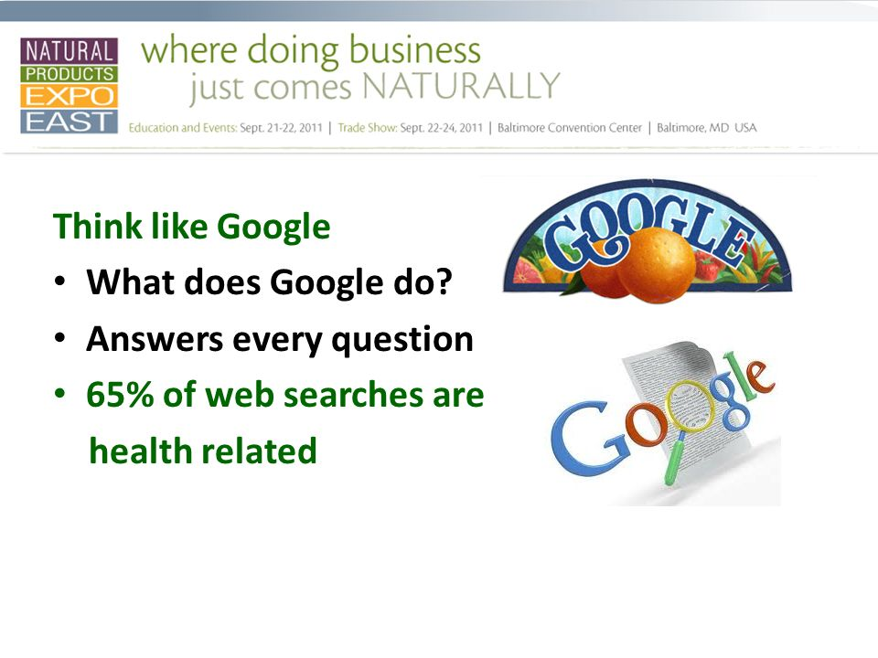 Think like Google What does Google do.