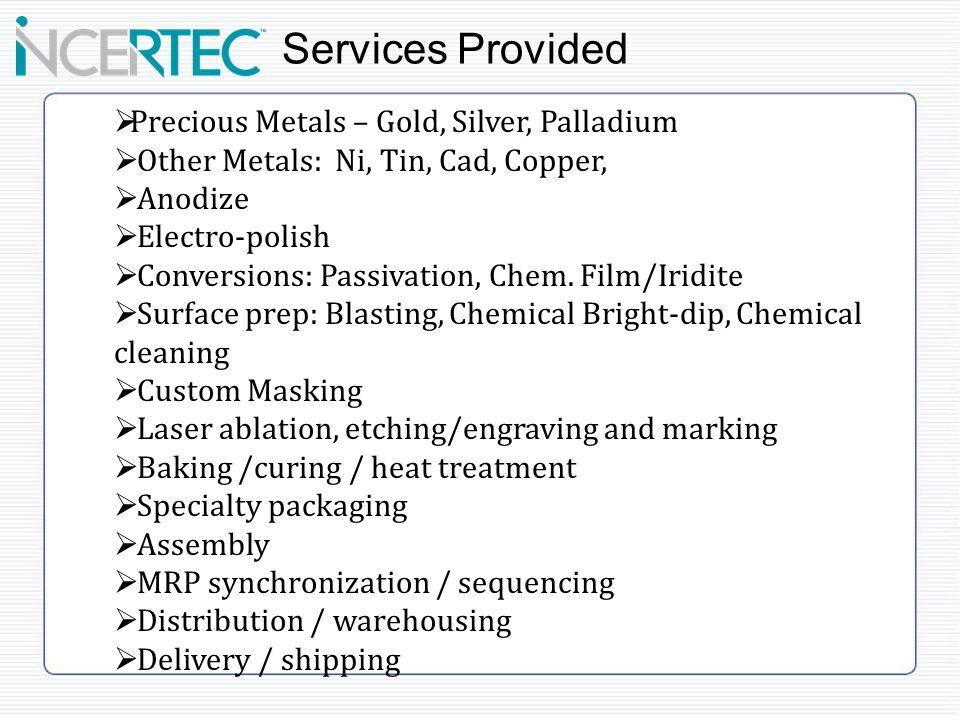 Precious Metals – Gold, Silver, Palladium Other Metals: Ni, Tin, Cad, Copper, Anodize Electro-polish Conversions: Passivation, Chem.