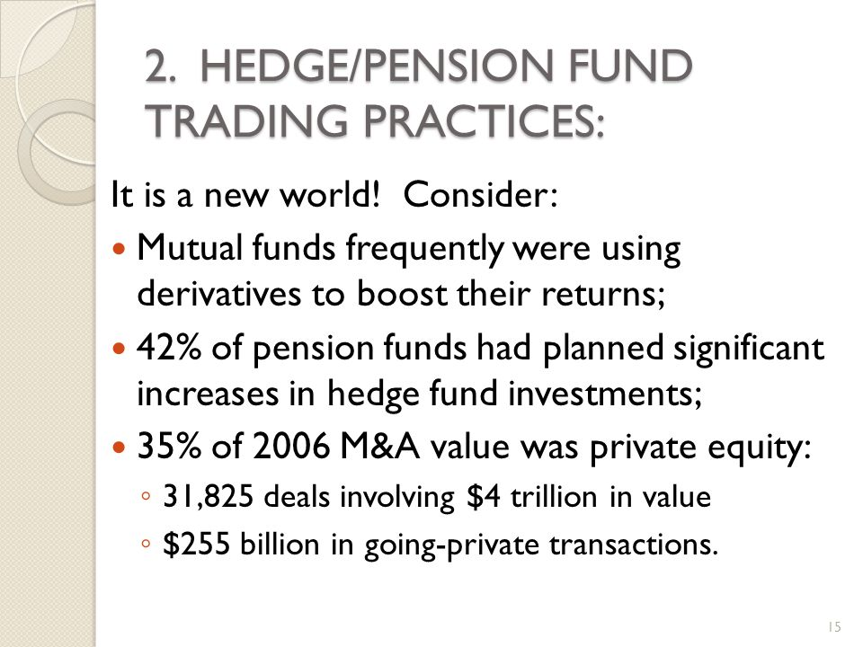 2. HEDGE/PENSION FUND TRADING PRACTICES: It is a new world.