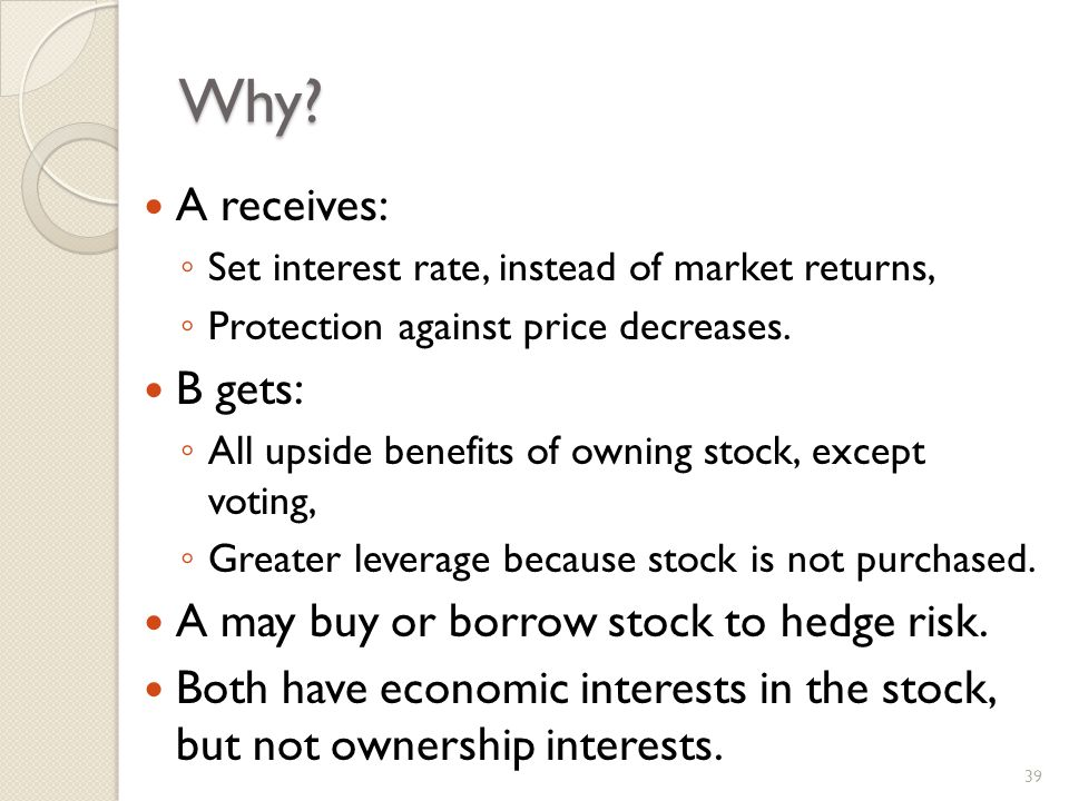 Why. A receives: Set interest rate, instead of market returns, Protection against price decreases.