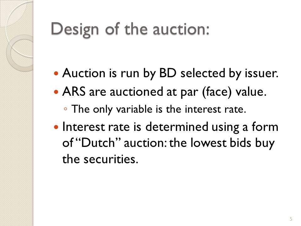 Design of the auction: Auction is run by BD selected by issuer.