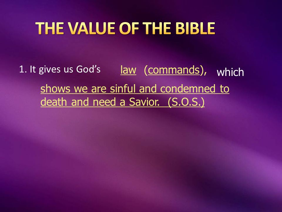1. It gives us Gods law(commands), which shows we are sinful and condemned to death and need a Savior. (S.O.S.)