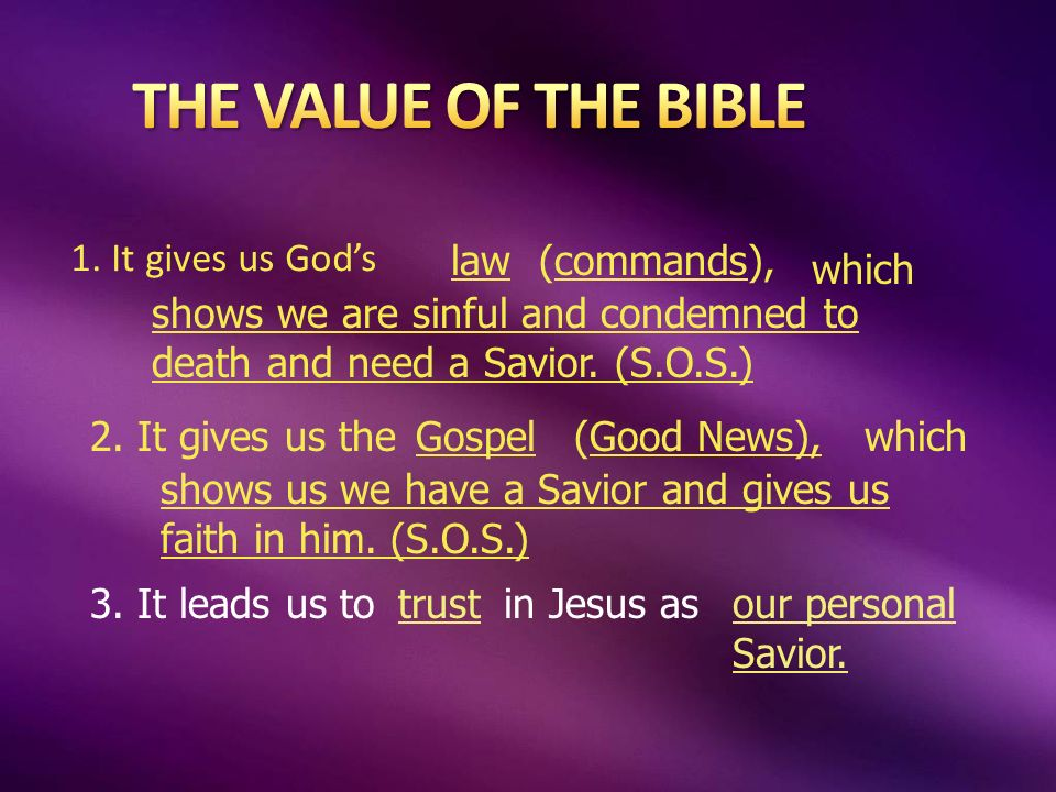 1. It gives us Gods law(commands), which shows we are sinful and condemned to death and need a Savior. (S.O.S.) 2. It gives us theGospel(Good News),wh