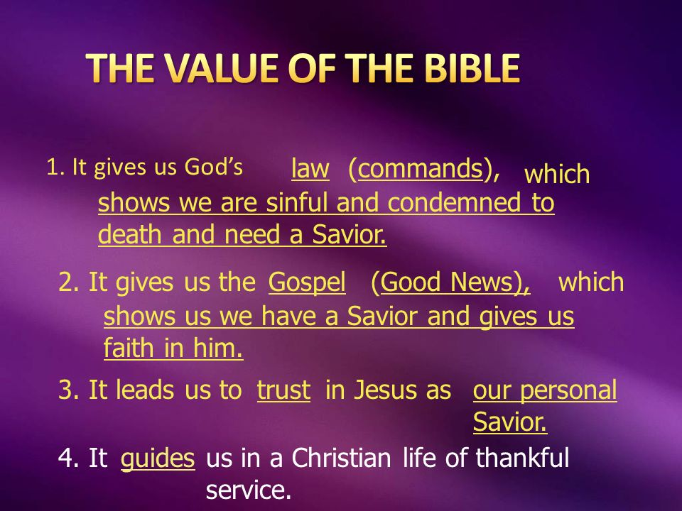 1. It gives us Gods law(commands), which shows we are sinful and condemned to death and need a Savior. 2. It gives us theGospel(Good News),which shows