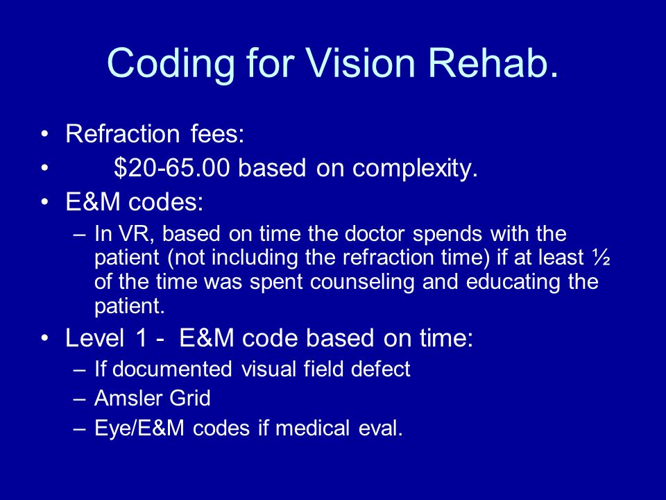 Coding for Vision Rehab. Refraction fees: $20-65.00 based on complexity. E&M codes: –In VR, based on time the doctor spends with the patient (not incl