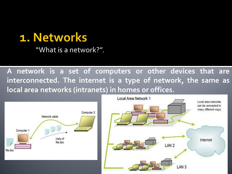 What is a network?. A network is a set of computers or other devices that are interconnected. The internet is a type of network, the same as local are