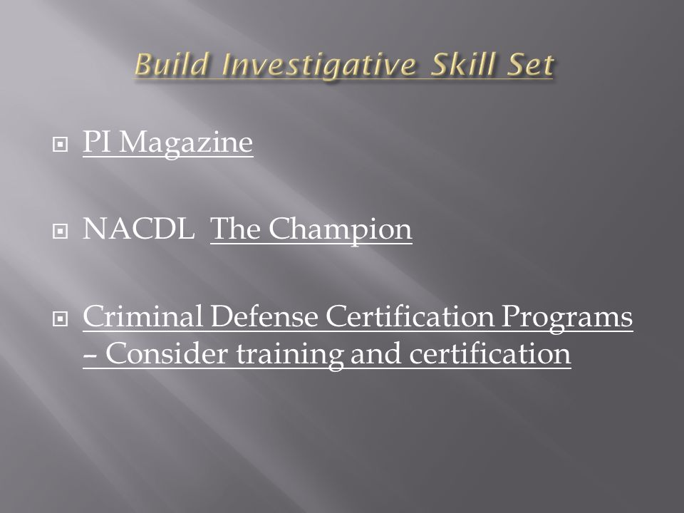 PI Magazine NACDL The Champion Criminal Defense Certification Programs – Consider training and certification