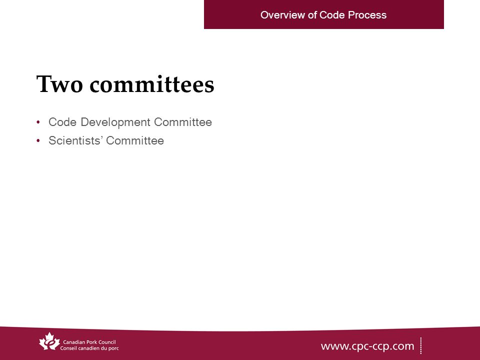 Two committees Code Development Committee Scientists Committee Overview of Code Process