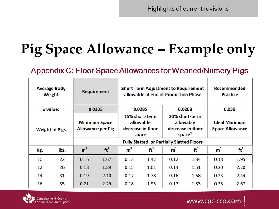 Pig Space Allowance – Example only Appendix C: Floor Space Allowances for Weaned/Nursery Pigs Highlights of current revisions