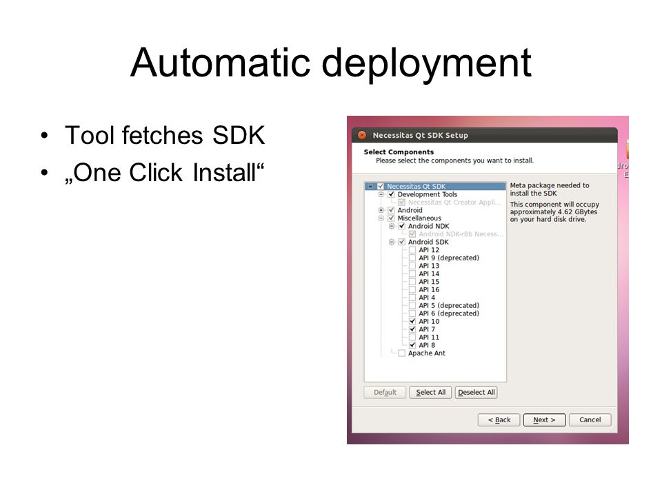 Automatic deployment Tool fetches SDK One Click Install