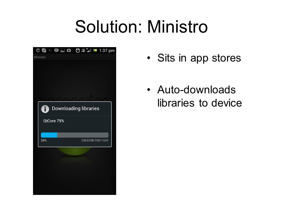 Solution: Ministro Sits in app stores Auto-downloads libraries to device