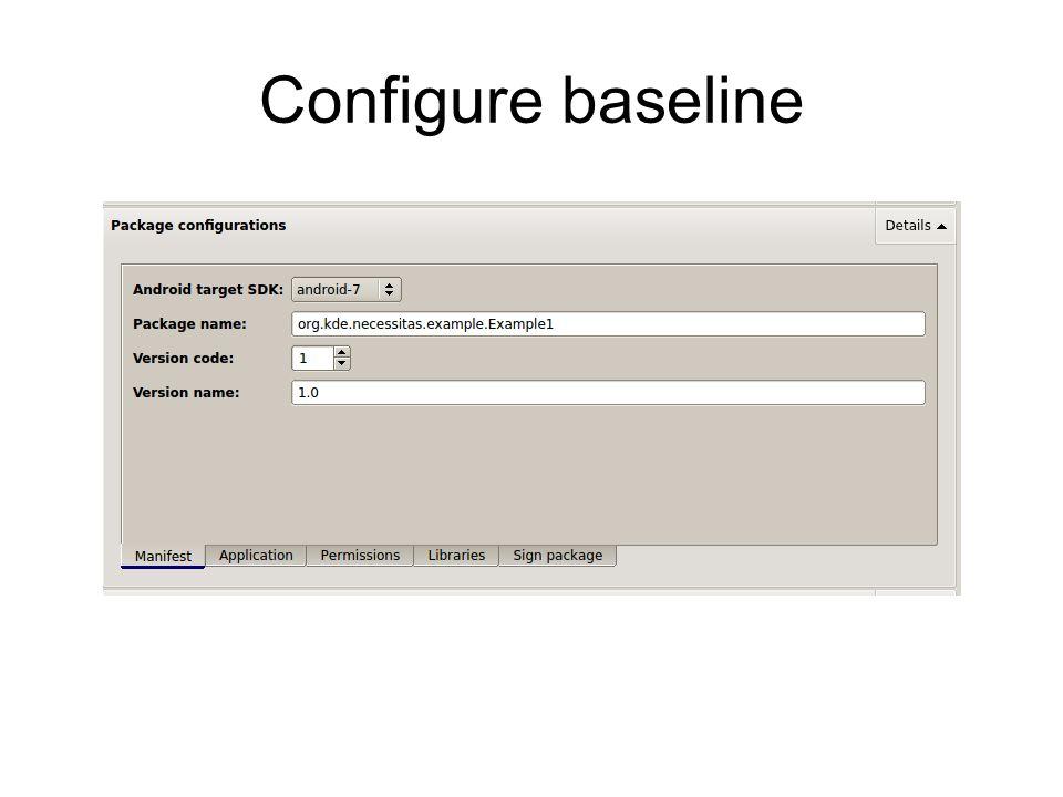 Configure baseline