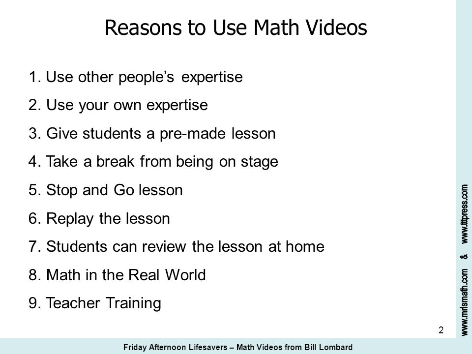 23 Bill Lombards Math Video Suggestions 17.