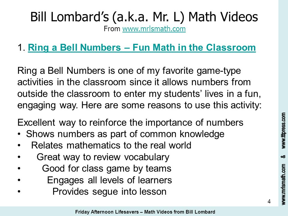 25 Bill Lombards Math Video Suggestions 19.