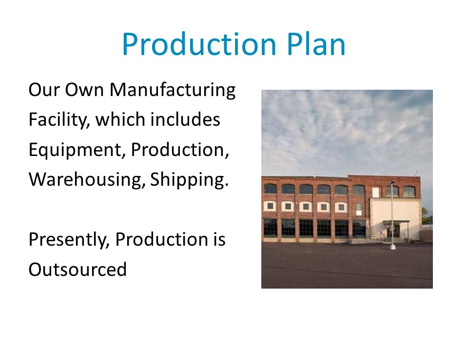 Production Plan Our Own Manufacturing Facility, which includes Equipment, Production, Warehousing, Shipping.