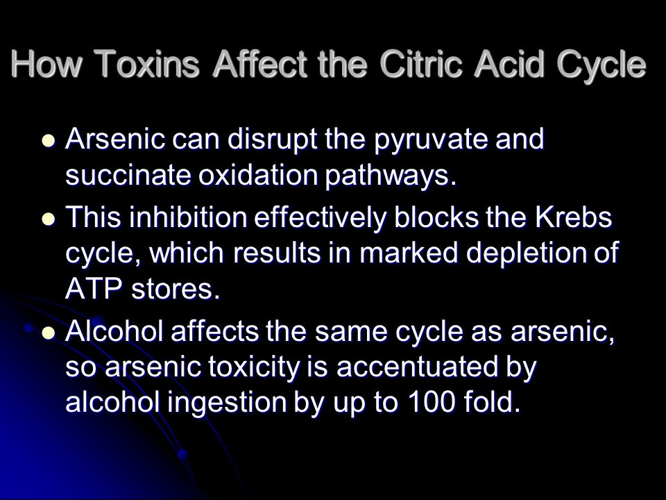 How Toxins Affect the Citric Acid Cycle Arsenic can disrupt the pyruvate and succinate oxidation pathways. Arsenic can disrupt the pyruvate and succin