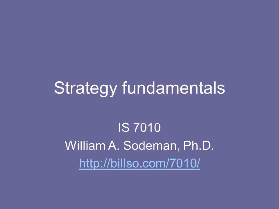 Strategy fundamentals IS 7010 William A. Sodeman, Ph.D. http://billso.com/7010/