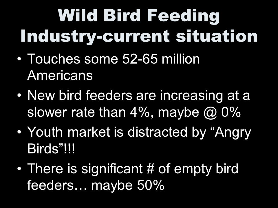 Wild Bird Feeding Industry-current situation Touches some 52-65 million Americans New bird feeders are increasing at a slower rate than 4%, maybe @ 0% Youth market is distracted by Angry Birds!!.