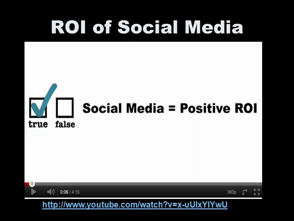 ROI of Social Media http://www.youtube.com/watch v=x-uUIxYIYwU