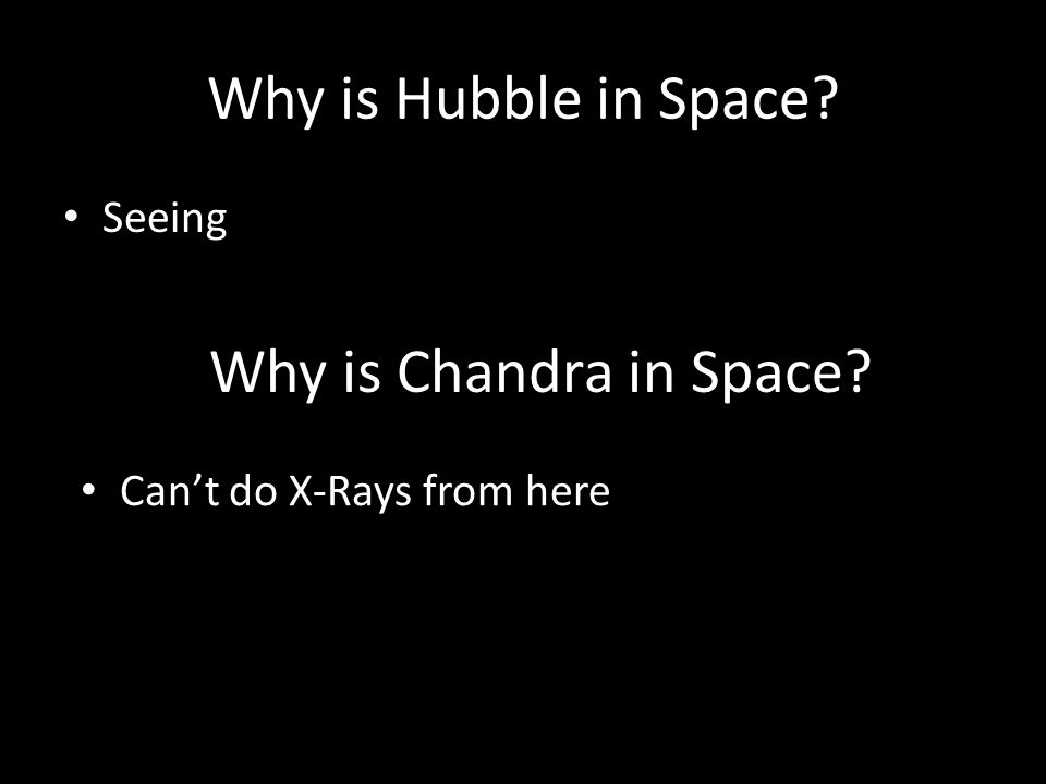 Why is Hubble in Space? Seeing Why is Chandra in Space? Cant do X-Rays from here