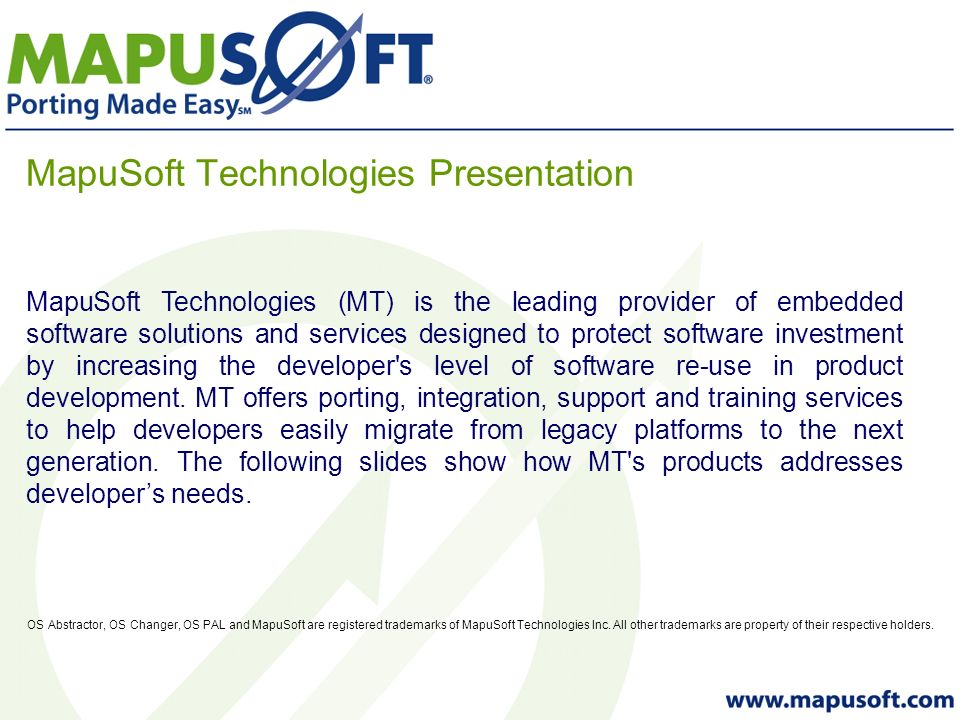 MapuSoft Product Overview