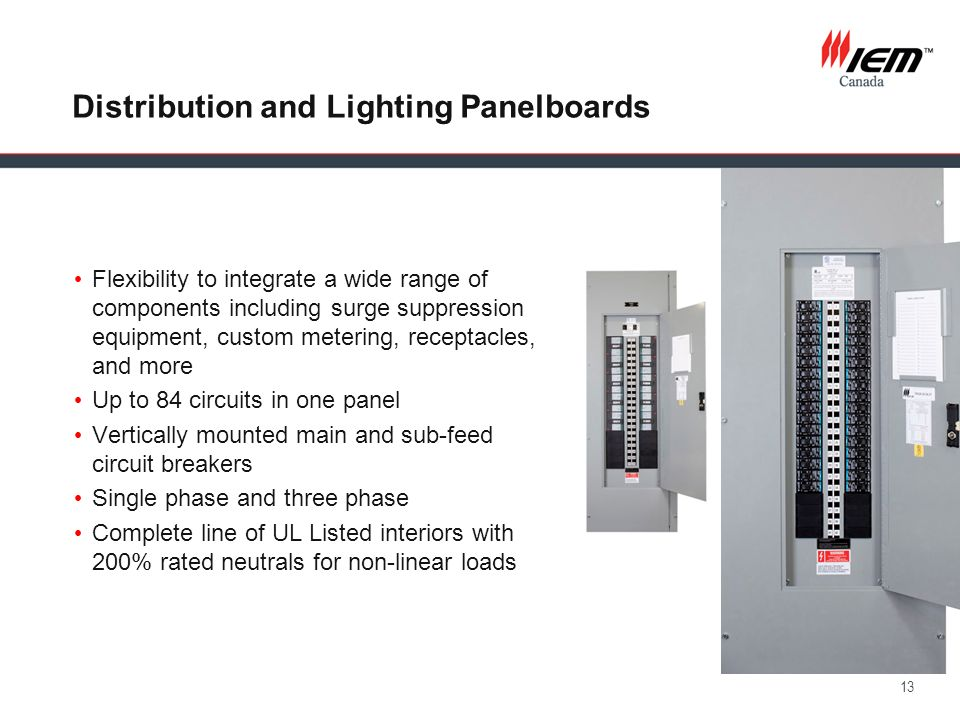 13 Distribution and Lighting Panelboards Flexibility to integrate a wide range of components including surge suppression equipment, custom metering, r