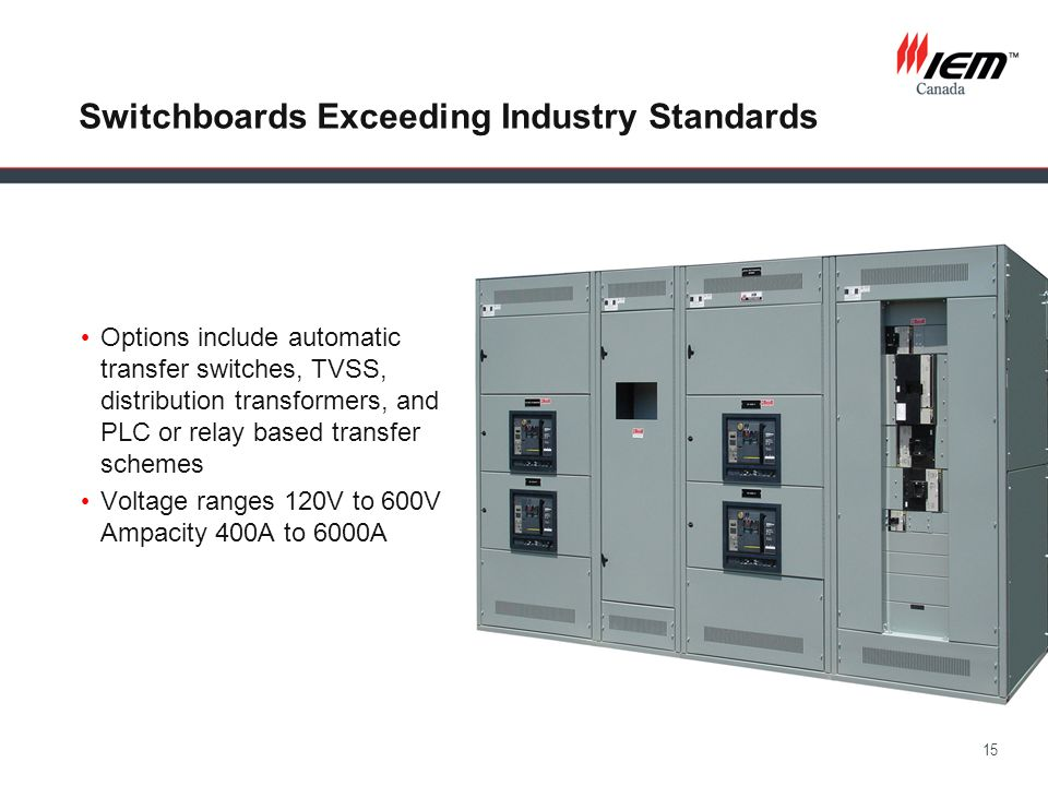15 Switchboards Exceeding Industry Standards Options include automatic transfer switches, TVSS, distribution transformers, and PLC or relay based tran