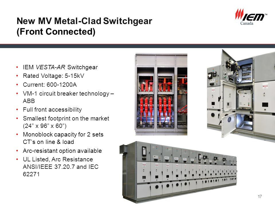 17 New MV Metal-Clad Switchgear (Front Connected) IEM VESTA-AR Switchgear Rated Voltage: 5-15kV Current: 600-1200A VM-1 circuit breaker technology – A